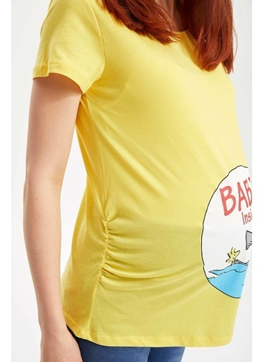 DeFacto Snoopy Lisanslı Hamile Üst Sarı